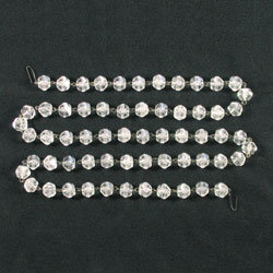 Antique English-cut Bead Chain, Crystal Prism, 12mm beads, clear