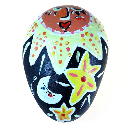 """Shine"" Positive Sun with moon and stars hand-painted stone"