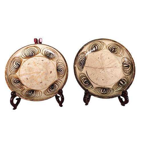 Pair of Large Antique Japanese Horse Eye Plates