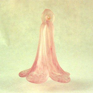 Murano glass trumpet flower pink frost
