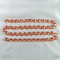 Uniform Octagon Jewel Prism Bead Chain, Amber, half-cut with brass pinning