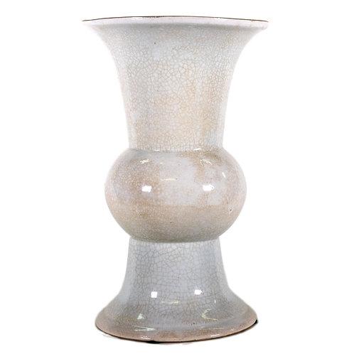 White Crackle Fluted Pedestal Vase