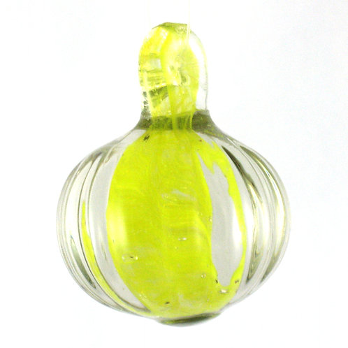 "Murano fluted glass ""pumpkin"" with yellow glass inclusion"