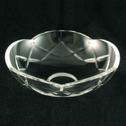 Bobeche Clear Glass Crystal, Single X-cut. Hand Cut and Polished