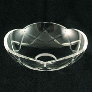 Bobeche Clear Glass Crystal, Single X-cut. Hand Cut and Polished