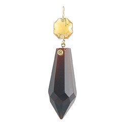 2 inch short spear plug drop dark amber with topaz jewel head
