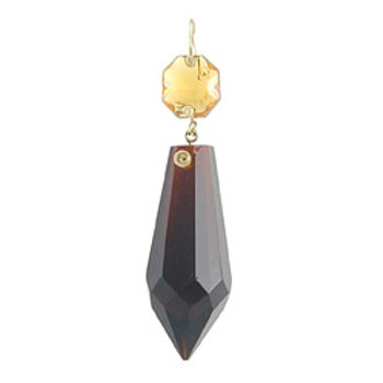 2 inch short spear plug drop dark amber with topaz jewel head
