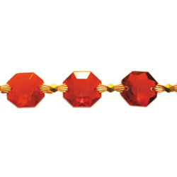 Uniform octagon bead chain, 16mm ruby jewels with bowtie connectors meter length