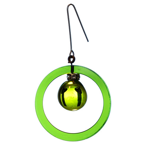 Green glass ring with center prism and jewell rondelle ornament
