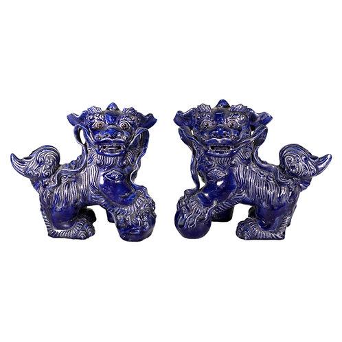 Pair of Ceramic Chinese Foo Dogs in Cobalt