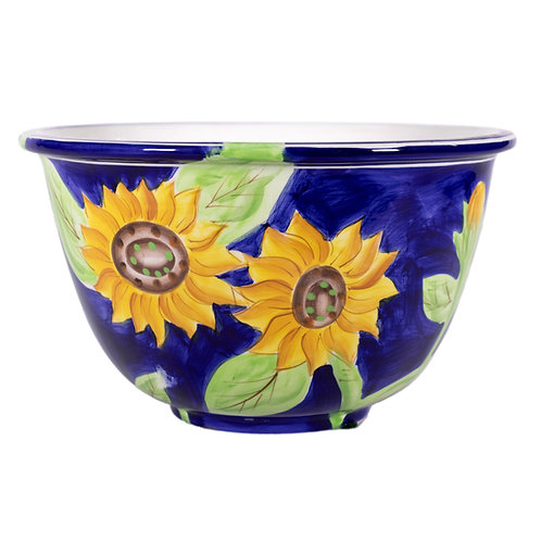 Large Blue Bowl with Yellow Flowers Kitchen and home Decor
