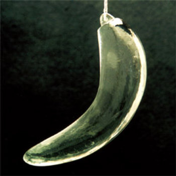 Solid clear glass banana with hole for hanging