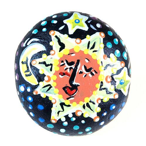 Positive Focus Sun Moon Stars fun hand-painted mandala stone for home decor