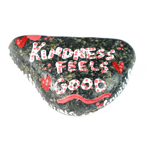 Kindness Feel Good. Hand-painted rock with inspirational message