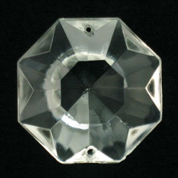 Octagon half-cut jewel prism, 2-hole for chandeliers.