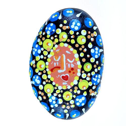 """Good Day Sunshine!"" Hand-painted mandala stone for home decor"