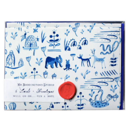 Forest Animal Toile Notecard Set