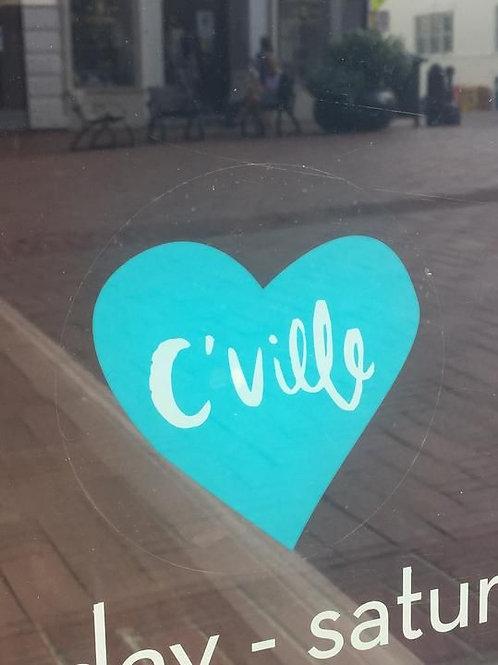 Cville Heart Window Cling