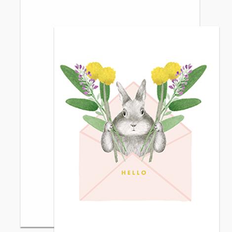 Hello Bunny in Envelope