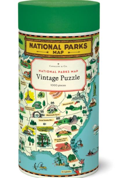Cavallini | National Parks Map Vintage Puzzle, 1,000 pieces