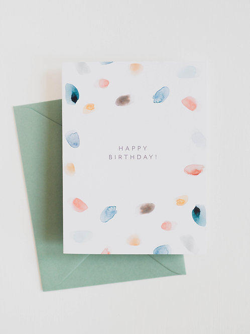 RPS | Pastel Watercolor Polka Dots Happy Birthday