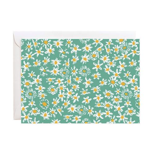 Green Daisy Fields Notecard Set
