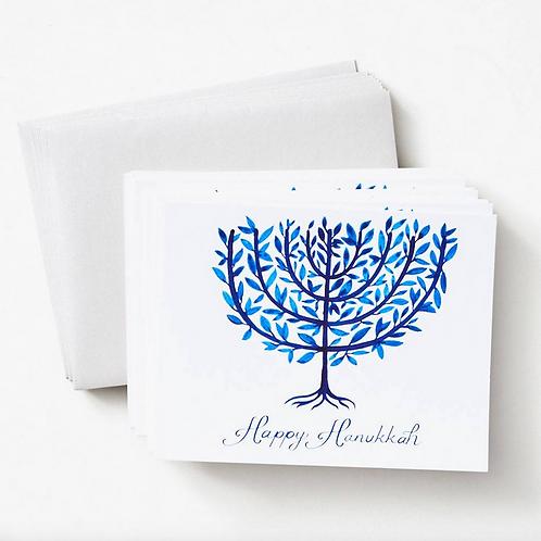 Paper Source Watercolor Menorah Hanukkah Card Set