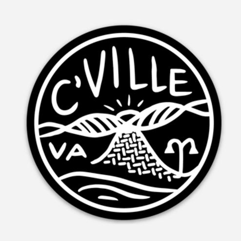 Black + White C'ville Sticker