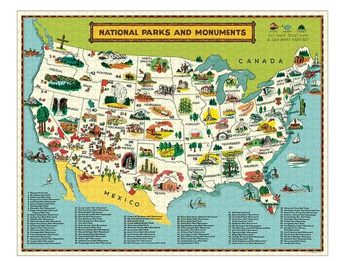 Cavallini   National Parks Map Vintage Puzzle, 1,000 pieces