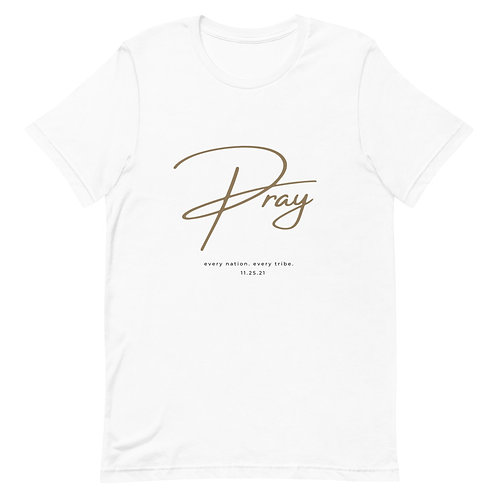"""""""Pray"""" White Short-Sleeve T-Shirt"""
