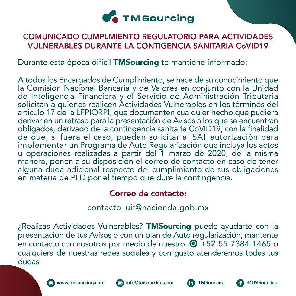 TMSourcing- Comunicado Actividades Vulne
