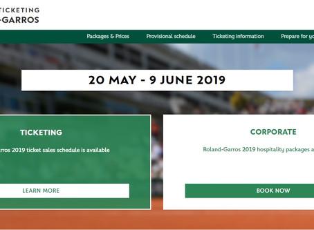 Roland Garros 2019 全仏オープンチケット販売スケジュール