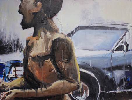 """Boy and car, 2011 48""""x60"""" Oil and spray paint with attached fibers on canvas (sold)"""