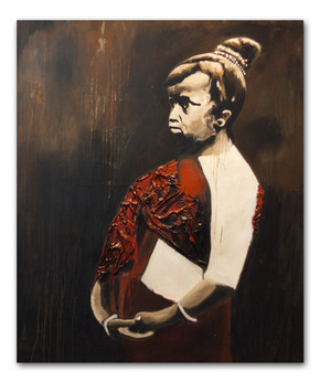"""Sao Lao 2, 2012 72""""x62"""" Oil & spray paint with attached fibers on canvas (sold)"""