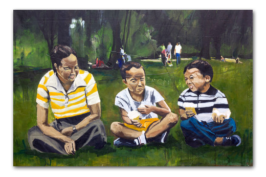 """Ice cream with mom at King's Park, 2012 84""""x144"""" Oil, spray paint and attached fibers (sold)"""