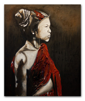 """Sao Lao 1, 2012 72""""x62"""" Oil & spray paint with attached fibers on canvas (sold)"""