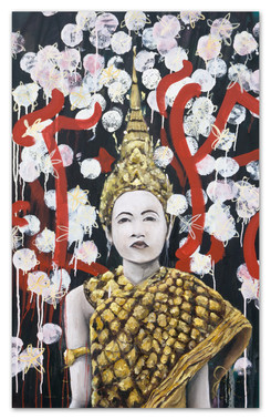 """Lost girl in all gold everything, 2018 50""""x32"""" Acrylic and oil on canvas"""