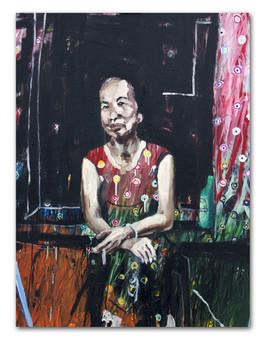 Heineken Mom, 2015 36″ x 48″ Oil and Spray Paint on canvas