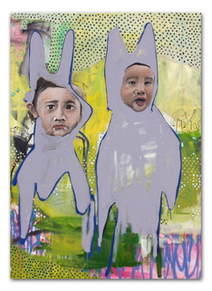 """Cousins In Rabbit's Suit, 2014 48""""x36"""" Acrylic, oil, and spray paint on canvas"""