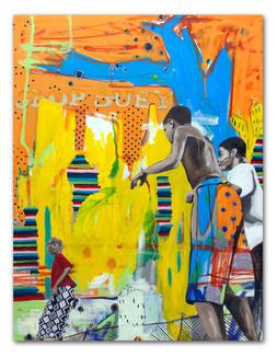 "Chop Suey. 2014.  48""x36"" Oil and spray paint on canvas"