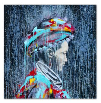 "Hluagao, 2018 48""x48"" Acrylic, crayon, oil and spray paint on masonite panel"