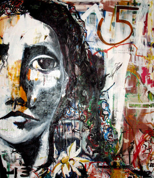Natalia, 2008 60″x44″  Mixed media on denim