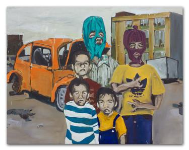 "Damn, Wish We Had Skeez, 2013  48""x60"" Oil & Spray Painting on Canvas."
