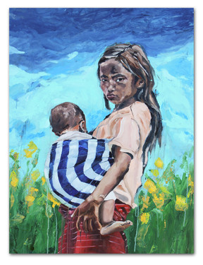 """eeemae, eeepau don't get home til'late, 2016 48""""x36"""" Oil and spray paint on canvas"""
