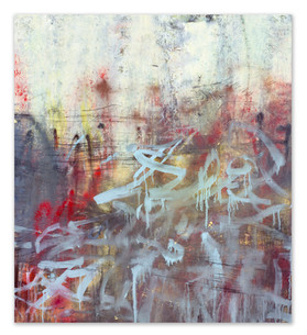 "Weed smoke retrace the sky line, 2018 48""x43"" Acrylic, ink, and spray paint on masonite panel"