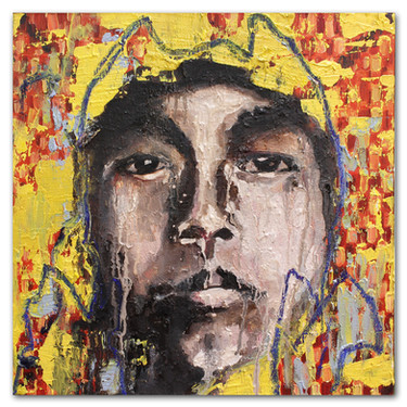 "Boy, 2016  12""x12"" Acrylic, crayon, and oil on canvas"