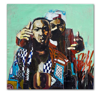 Only Built For Cuban Linx, 2013 47″ x 48″ Mixed Media on Canvas (sold)