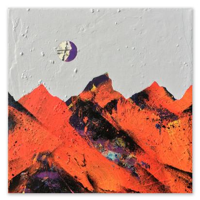 "Orange Slope, 2017 10""x10"" Acrylic, India ink, laytex, and spray paint on canvas"