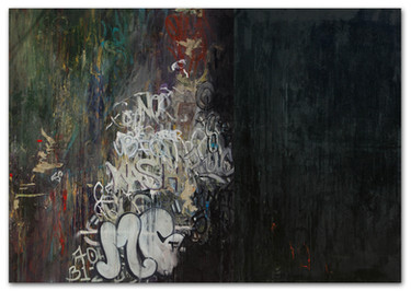 """Maintenance Crew Forever, 2013  72""""x120"""" mixed media on canvas"""