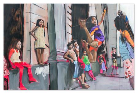 "High Low, 2018 48""x72"" Acrylic, oil and spray paint on canvas"